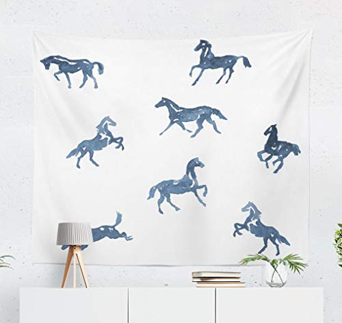 WAYATO Watercolor Horse Wall Tapestry,Psychedelic Tapestry Art Tapestry Watercolor Painting Pattern Silhouette Horse Running WallTapestry for Bedroom Dorm Decor 60x5Inches, Blue Gray (Painting Silhouette Horse)