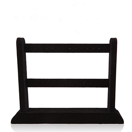 F&U Jewelry Frame Velvet Earrings Holder Earring Display Stand Display Shelf Show Case Organizer (black, S)