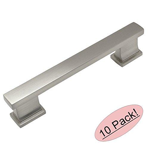 Contemporary Nickel Pulls - Cosmas 702-4SN Satin Nickel Contemporary Cabinet Hardware Handle Pull - 4