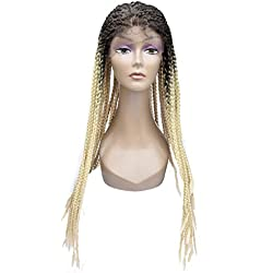 """Miss Rola 26""""Synthetic Heat Resistant Lace Front Wigs For Black Women Curly Box Braiding Full Lace Wig Half Hand Tied With Baby Hair Ombre Two Tone Color(613#)"""