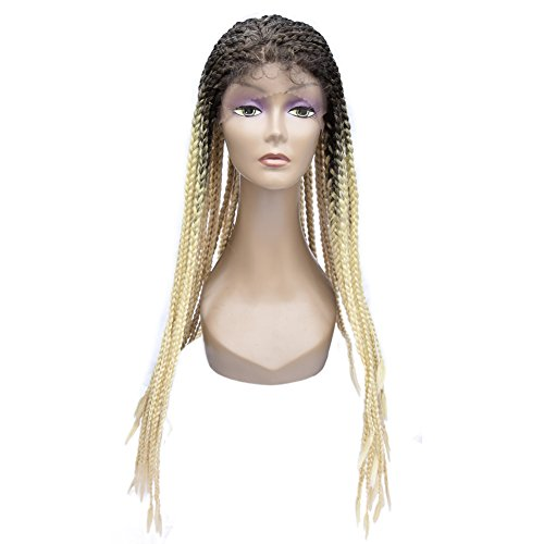"""Miss Rola 26""""Synthetic Heat Resistant Lace Front Wigs For Black Women Curly Box Braiding Full Lace Wig Half Hand Tied With Baby Hair Ombre Two Tone Color(613#) by Miss Rola"""