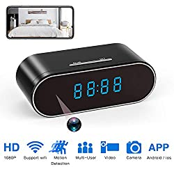 WiFi Hidden Spy Camera Clock Full HD 1080P Wireless Camera with Motion Detection, Night Vision, Realtime Video, Covert Nanny Cam for Home Security Monitoring Wide Angle