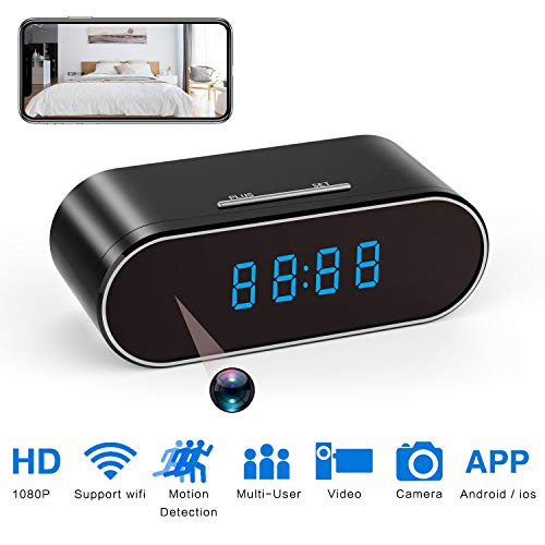 (Spy Camera Clock Hidden Nanny cam 1080P with Night Vision/Motion Detection/Loop Recording, Phone APP & PC Software Remote Monitored Mini Smart cam for Home Security Monitoring)