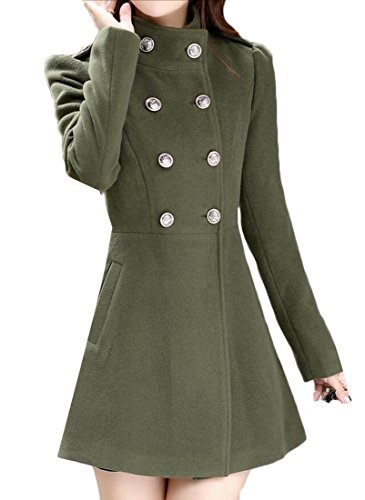 WSPLYSPJY Women's Casual Double Breasted Swing Woolen Trench Coats Army Green S