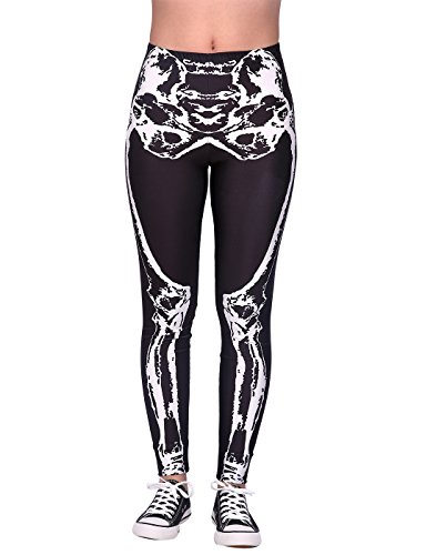 HDE Skeleton Leggings Bone Leg Black Spandex Halloween Tight Pants for Women -
