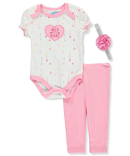 Bon Bebe Baby Girls' 3-Piece Outfit - Pink/Multi, 3-6 (Bebe Rosette)