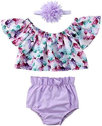 LIXIUQING Mädchen Anzug Mädchen Kleidung von der Schulter Blumen Top Shorts Stirnband Set