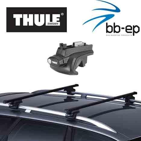 Thule Premium Dachträger / Lastenträger für Mercedes Benz C-Klasse (W204) 5 Türer Kombi Baujahr 2007 bis heute mit normaler Dachreling - Komplettsystem