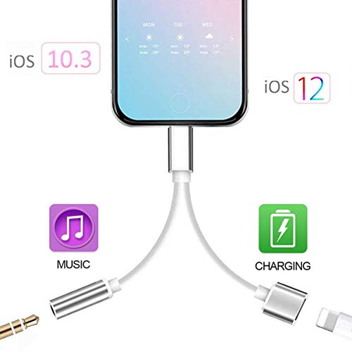 for iPhone 3.5mm Headphone Jack Adapter for iPhone Dongle for iPhone Xs/Xs Max/XR/ 8/8 Plus / 7/7 Plus Aux Adapter 2 in 1 Accessories Splitter Adaptor Charger Cables & Audio Connector Support All iOS ()