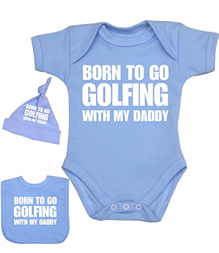 Cotton Golf Bib - BabyPrem Baby Born to go Golfing with Daddy Bodysuit Set 0-12 mths SKY 0-3