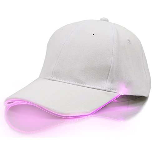 White LED Hat,TILO Multicolor LED Fiber Optic Illuminated Lights Light Stage Performance Tide Lighted Glow Club Sports Athletic Travel Tour Hat Baseball Bar Party Flash White Cap (Pink)