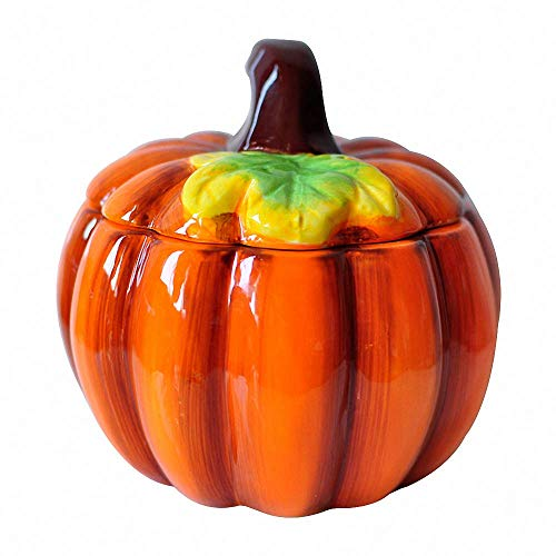 Ceramic Pumpkin Shaped Sugar Bowl Salt Pepper Spice Seasoning Box Condiment Storage Jar Pot Container with Lid, Halloween Baked Dessert Mousse Cup, Home Decoration, Orange ()
