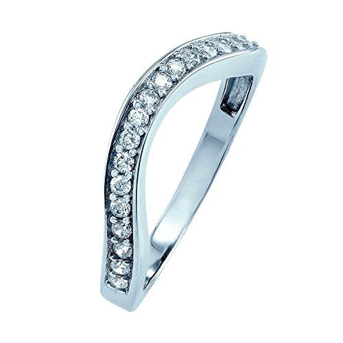 0,33CT Diamant incurvé avec diamants en or blanc-personnaliser et acheter
