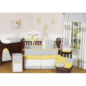 Sweet Jojo Designs 5-Piece Yellow and Gray Chevron Zig Zag Boy or Girl Toddler Bedding Set