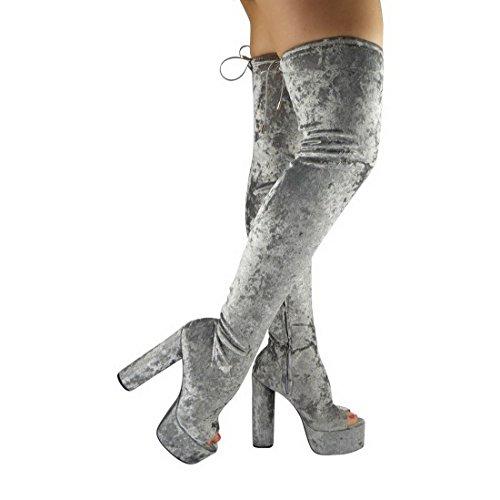 Grau Stiefel Zeh Blockabsatz hoch Größe Überknie Damen Plateau Pannesamt Schuhe Ausschnitt Oberschenkel fqwvZ