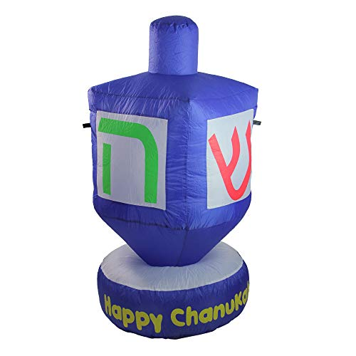 Northlight 4' Blue Happy Chanukah Inflatable Dreidel Outdoor Decoration ()