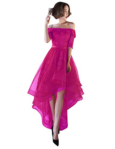 vimans Womens Tulle High Low Homecoming Dresses 2018 Formal Prom Gown Size 16 Fuchsia