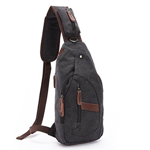 Wewod Hombro al aire libre del recorrido del bolso de la lona de múltiples funciones ocasional de los hombres del cuerpo Pecho Mochila Mochila Bolsos Cruz Satchel Bag 19 x 38 x 8 cm (L*H*W) Negro