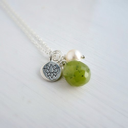 Yoga jewelry, charm necklace with green jade, lotus flower charm and cultured freshwater pearl