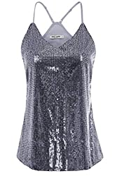 Grey Sequin Sleeveless Camisole Tank Top