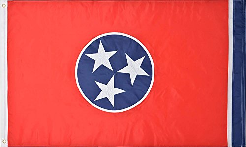 Green Grove Products Tennessee Flag 3' x 5' Ft 210D Nylon Premium Outdoor Embroidered Flag