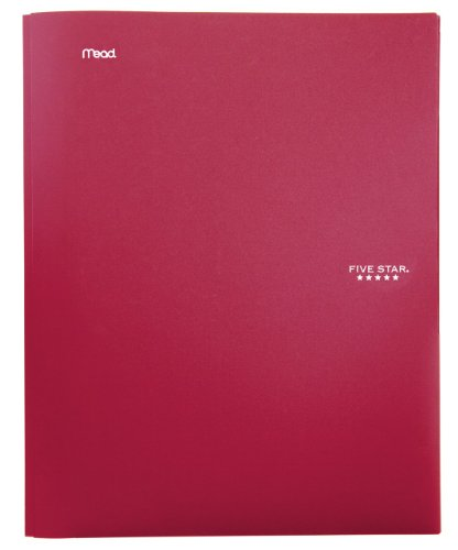 Five Star 2-Pocket Folder, Stay-Put Folder, Folders with Pockets, Red (72109)