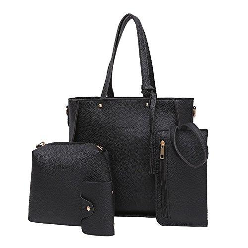 - bjduck99 4Pcs Luxury Fashion Women Tassels Wallet Card Holder Handbag Crossbody Bag Set