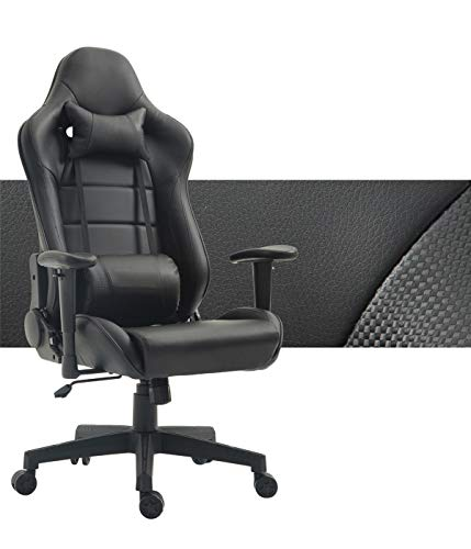 Computer Gaming Chair High Back Game Chair Office Chair PU Leather Desk Chair PC Racing Executive Ergonomic Adjustable Swivel Task Chair with Headrest and Lumbar Support (Black)