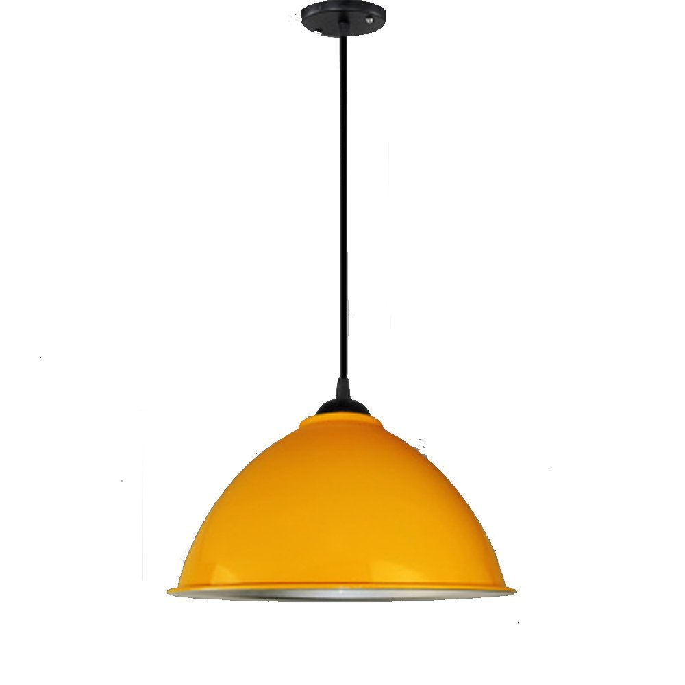 Simple chandelier, industrial style, creative personality, modern industrial and mining lamp cover bar, single head restaurant, hairdressing shop, office lamp (Color : Orange)