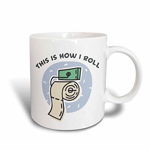 3dRose 102575_1 Funny Toilet Paper Roll Design Ceramic Mug,
