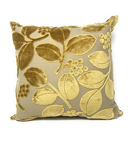 Tache Home Fashion Velvety Embossed Gold Leaves Cushion Throw Pillow Covers (Golden Boughs, 1)