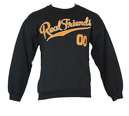 Real Friends Crewneck Sweatshirt - Varsity Style Never Grow up 00 Image (Extra Large) Black
