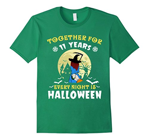 Mens 11 Years Together Every Night Is Halloween T-shirt Large Kelly (11 More Days Until Halloween)