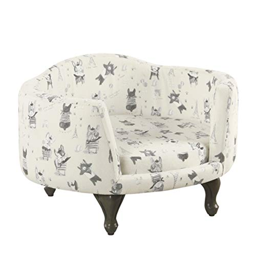 Kinfine K7542-A855 Wooden Pet Bed with French Bulldog Print Fabric Upholstery, Cream and Gray