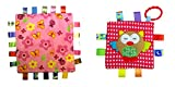 Little Taggie Like Theme Baby Sensory, Security & Teething Closed Ribbon Style Colors Security Comforting Teether Blanket - Pink Flowers & Owl 2-Pack w/Gift Box