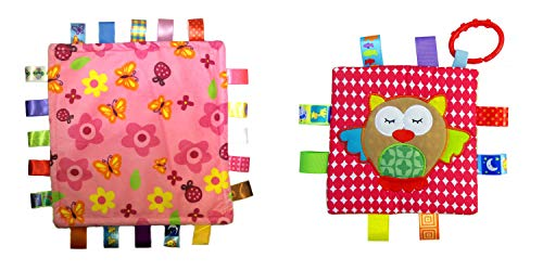 Little Taggie Like Theme Baby Sensory, Security & Teething Closed Ribbon Style Colors Security Comforting Teether Blanket - Pink Flowers & Owl 2-Pack w/Gift Box by J&C Family Owned