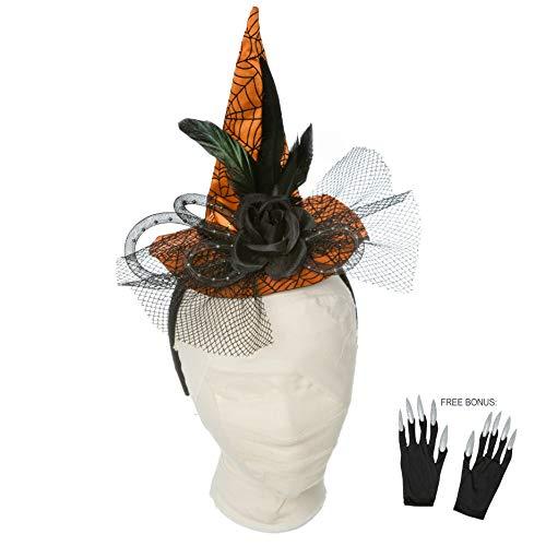 PINE AND PAINT LLC Halloween Headband Orange Witch Hat for Women Girls Costume Accessory Free Bonus: Glittery Nail Gloves -