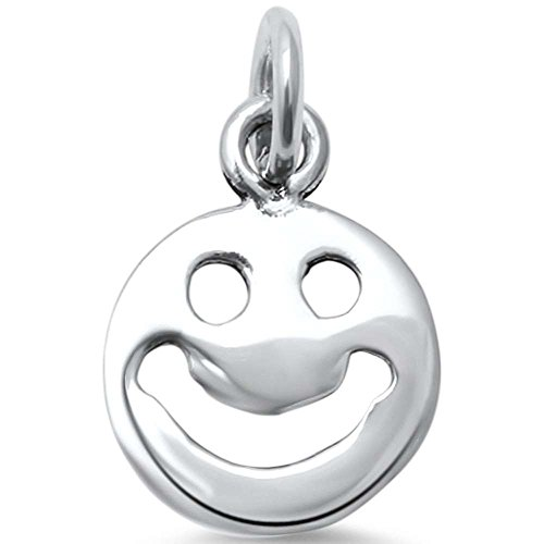 Sterling Silver Plain Smiley Face Charm Pendant