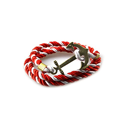 Vintage Metal Pirate Ship Anchor Bracelet Brightly Painted Cord Bracelet for Friend Fine Jewelry