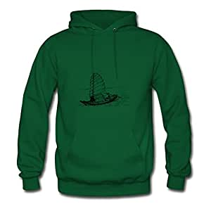 Women Sail Ship Painting Hoodies Green Customized Shirts With X-large
