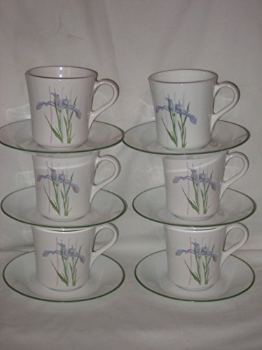 12 Piece Set - Corning Corelle Shadow Iris 8 oz. Cups & Saucers - 6 Cups & 6 Saucers