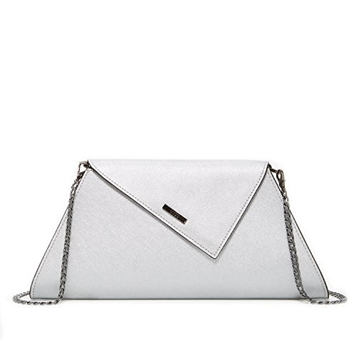 Clutch Purses for Women Evening Bags and Clutches Silver Saffiano Leather Cute Purse Elegant Ladies Metallic Light Grey Party Bag Gray Designer Handbags with Cross body Long Shoulder Chain Strap (Designer Evening Clutch Bag)