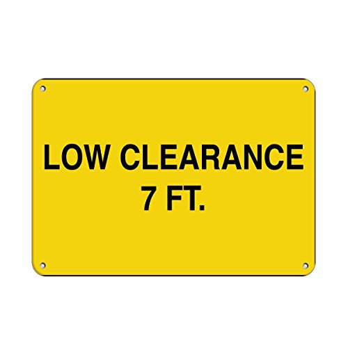 7' Smooth Aluminum Post (Personalized Metal Signs Low Clearance 7 Ft. Hazard Sign Clearance Sign Aluminum METAL Sign 10 X 14 Inch)