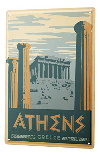 - City Athens Greece Acropolis Metal Tin Sign Aluminum Sign Poster Decor for Home Bar Office Pub