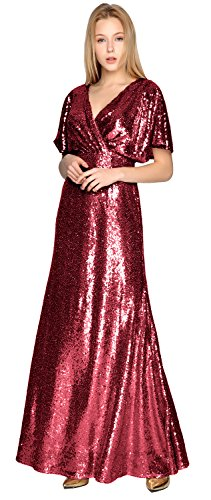 Formal Sleeve Neck Gorgeous MACloth Gown Party V Dress Short Wedding Bridesmaid Weinrot Sequin vAq4wx0g