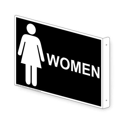ComplianceSigns Aluminum Womens / Girls Restroom sign, 9 x 7 inch Black (Girl Sign Aluminum)