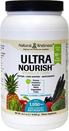 UltraNourish Vanilla Chai Vegetarian Superfood Shake - Total Body Support for The Liver, Heart, and Digestive Health - 34.7 oz Natural Wellness 16g Pea Protein Powder Drink Mix - 30 Servings