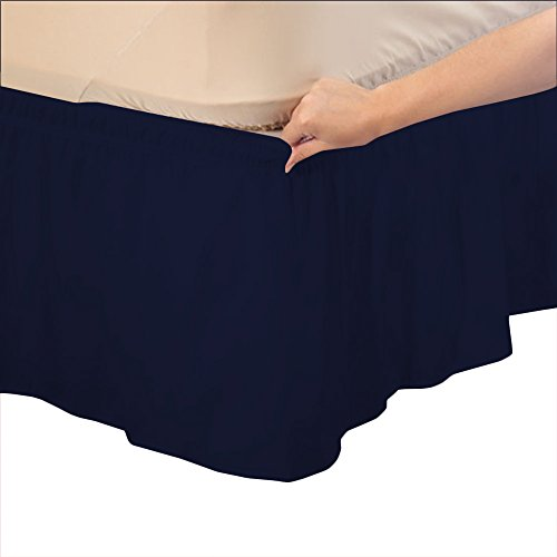 Relaxare Twin 500TC 100% Egyptian Cotton Navy Blue Solid 1PCs Wrap Around Bedskirt Solid (Drop Length: 16 inches) - Ultra Soft Breathable Premium Fabric
