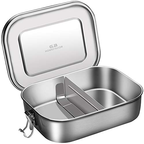 Leak Proof Stainless Steel Bento Box, G.a HOMEFAVOR Metal Lunch Box 1400ml Food Container with Lock Clips for Kids, School, Office, Work, Camping ()