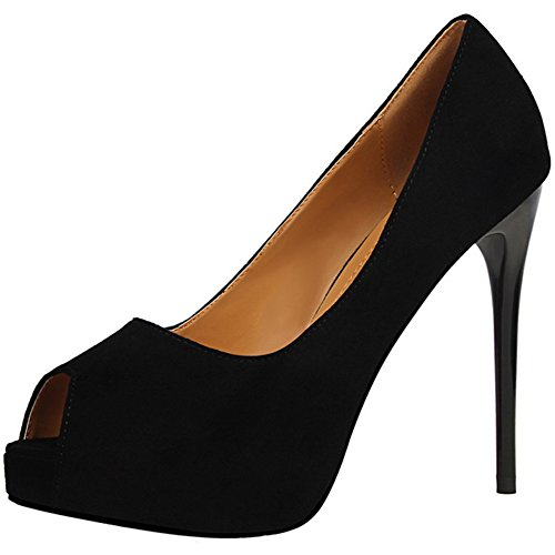 BIGTREE Peep Toe Women Court Shoes Platform Wedding High Heels Suede Dress Pumps Black YvJuv